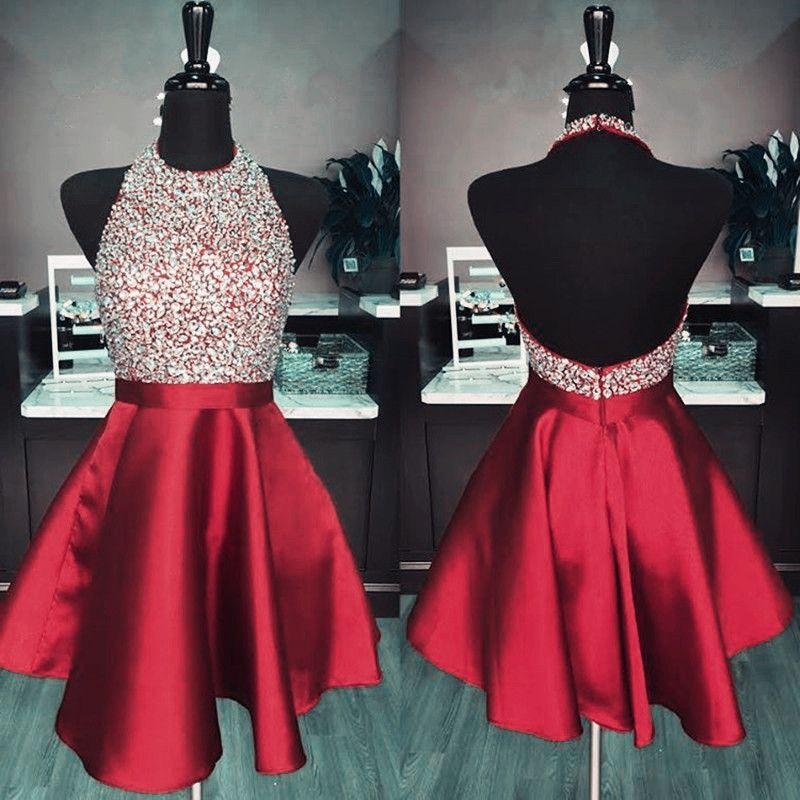 ff69402a3aa Halter Red Backless Beaded Short Homecoming Party Dress on Luulla