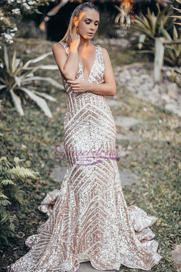96ce28f6 Deep V Neck Rose Gold Sequins Mermaid Long Prom Dress on Luulla